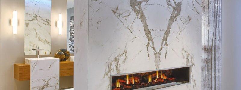 Dekton wall and fireplace