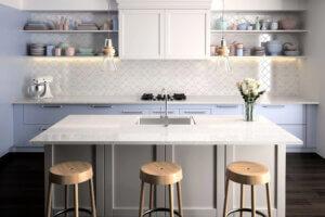 White Sparkle Worktop, Mirror Chip Quartz, Quartz Kitchen Worktops